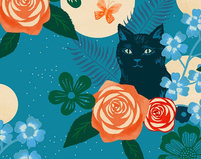 Moda Fabrics - Collaborative Collection by Ruby Star Society - Magic Cat Teal RS5008 11R  - Rayon