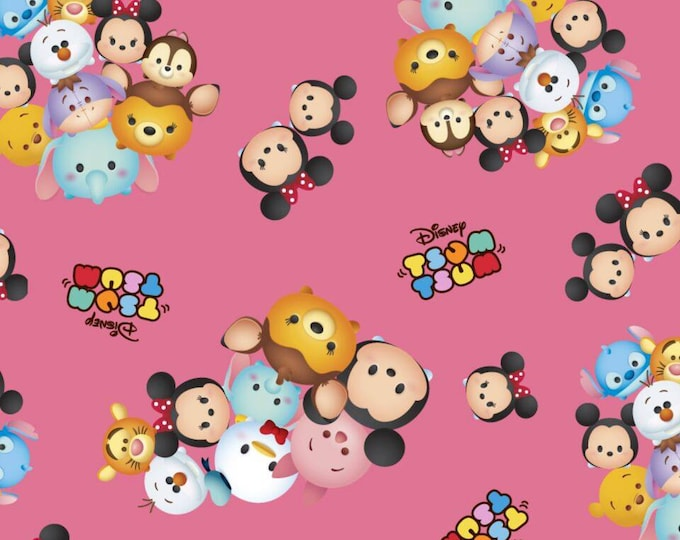 Springs Creative - Tsum Tsum -  Packed Pink Cotton Woven Fabric