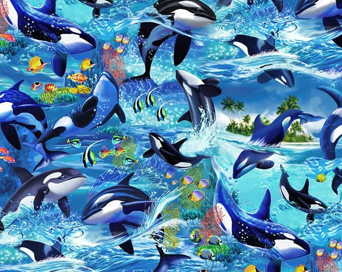 Killer Whale on Blue cotton woven fabric by Timeless Treasures