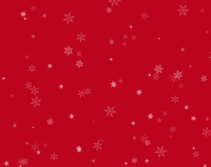 Henry Glass Fabric - Holiday Wishes - Tiny Snowflakes Red     6934-88 Cotton Woven Fabric