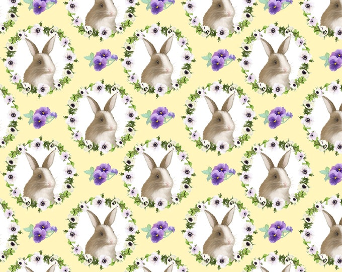 Blank Quilting - Hoppy Easter by AJ Watercolor Studio - Bunny Faces #9424-44 Cotton Woven Fabric