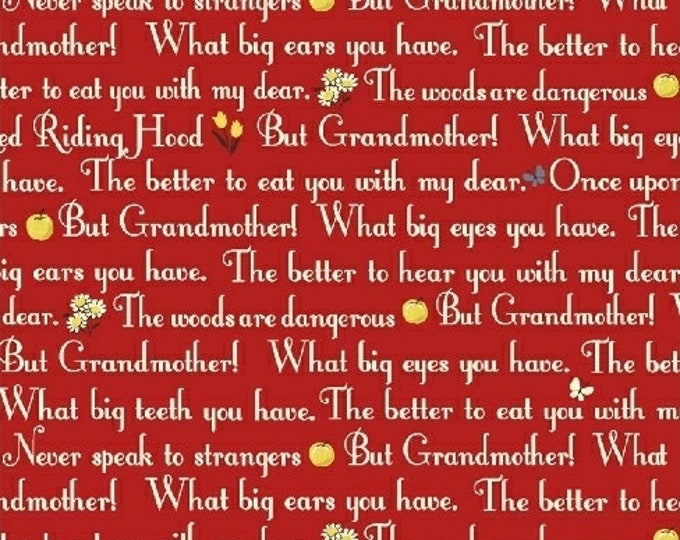 Windham Fabrics - Little Red Riding Hood -  50299-4,  Red Words Cotton Woven fabric