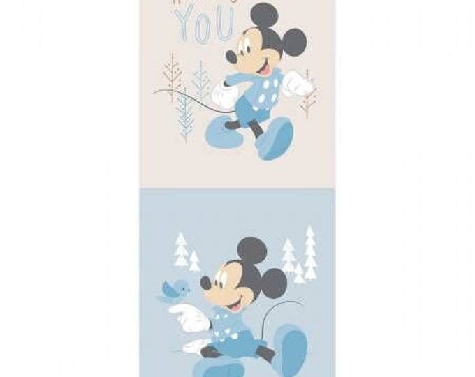 """Camelot Fabrics  - Mickey and Minnie in the Meadow - 18"""" Panel Mickey Little Meadow in Blue #85270410P Cotton Woven Fabric"""