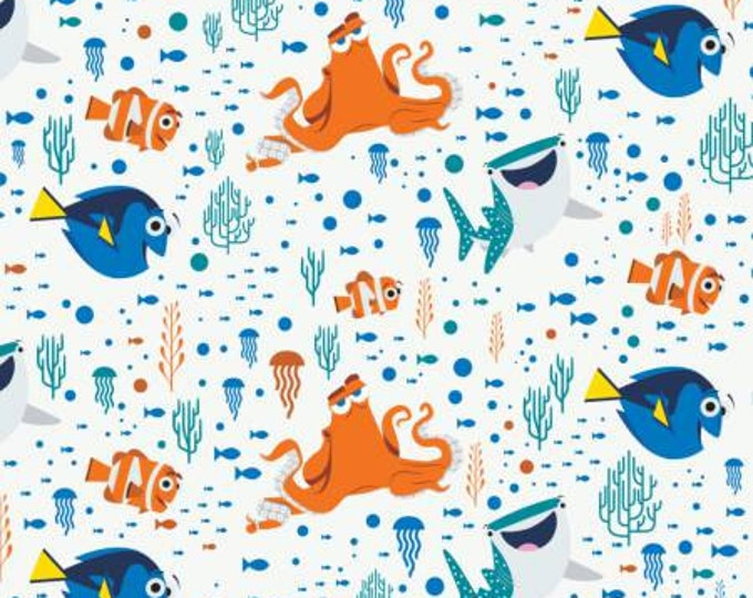 Camelot Fabrics - Finding Dory - White Disney Finding Dory Characters & Coral Cotton Woven Fabric