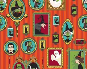 Riley Blake Fabric - Haunted House -  Main Print on Orange Cotton Fabric Woven