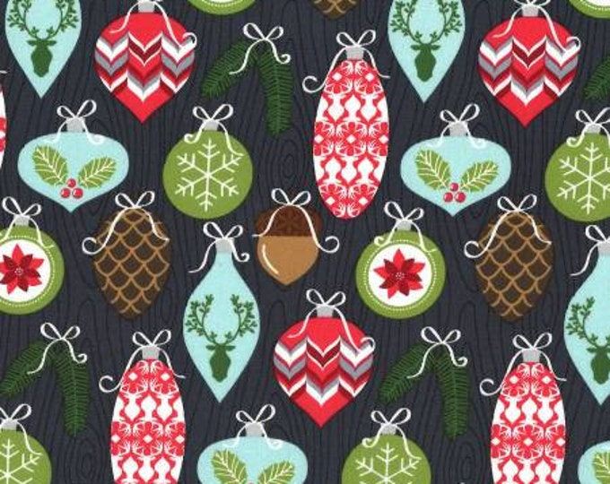 Rustique Winter, Charcoal Trimmings cotton woven fabric by Michael Miller Fabrics