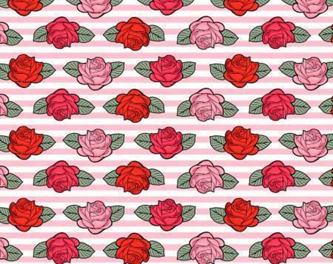 David Textiles - Punk Sugar Skulls - Roses on Pink Stripes Cotton Woven Fabric
