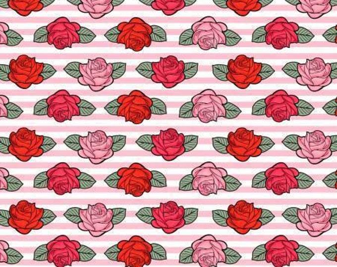 Roses on Pink Stripes, Punk Sugar Skulls Cotton Woven