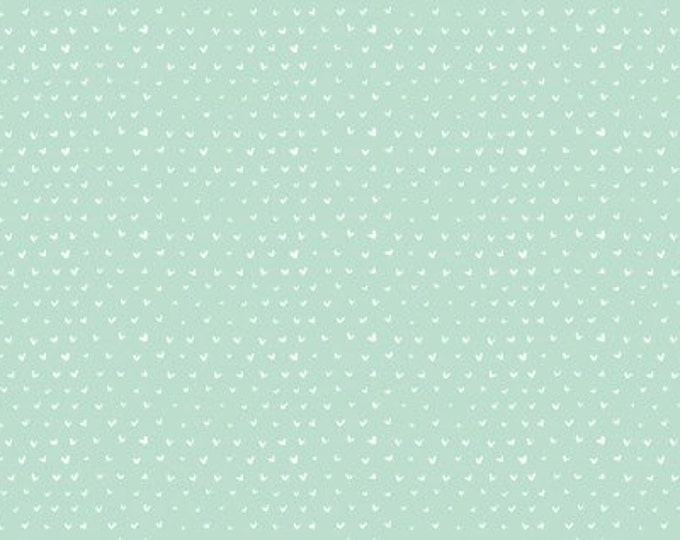 Dear Stella - Hearts - Mint cotton woven fabric