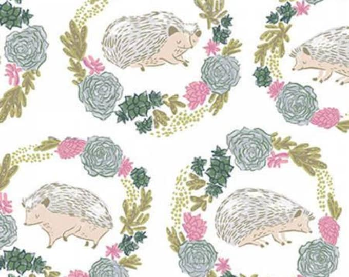 White Hedgehogs,  Garden Sanctuary by Rae Ritchie Collection Cotton Woven