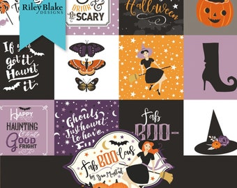 """Riley Blake - Fab-Boo-Lous Witches by Dani Mogstad - 5"""" Squares, 42 Piece Bundle #5-8170-42 Cotton Woven Fabric"""