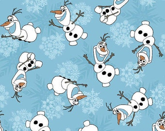 CLEARANCE -      Olaf tossed Cotton Woven on Blue in stock 1 Yard listing  - Price per yard