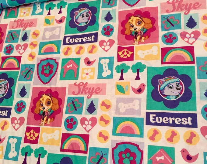 Paw Patrol Sky and Everest Cotton Woven Pink and Teal on White