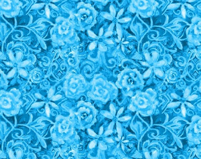 Blank Quilting - Papillon Parade by Janice Gaynor - Blue Tonal Floral #9369-70 Cotton Woven Fabric