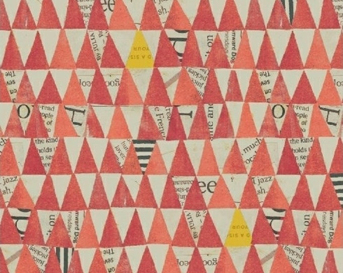 Carrie Bloomston - Wonder - Triangles Coral - Cotton Woven Fabric - Windham 50521-6
