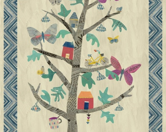 """Carrie Bloomston - Wonder - The Tree of Wonder - 54"""" digitally Printed Cotton Woven Fabric Panel - Windham 50763DP-X"""