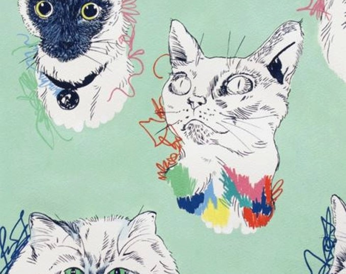 Alexander Henry Fabric - Meow Wow Kitty's on Sea Green Cotton Woven Fabric