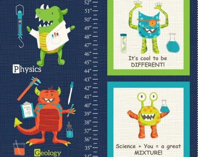 """StudioE Fabrics -  Monster Lab by Dana Saulnier of the Patterned Peacock - Growth Chart 24"""" Panel #4431P-77 Cotton Woven Fabric"""