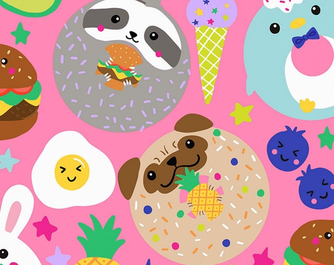 Timeless Treasures - Pink Food & Animals # C7329-PINK - Cotton Woven Fabric
