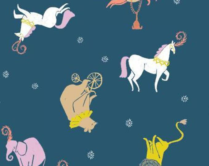 Dear Stella - Seaside Carnival by Rae Ritchie -  Moonlight Carnival Animals on Navy Cotton Woven Fabric
