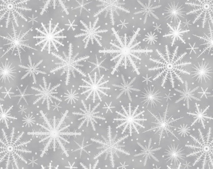 Henry Glass Fabric - Holiday Wishes - Snowflakes Grey     6932-90 Cotton Woven Fabric