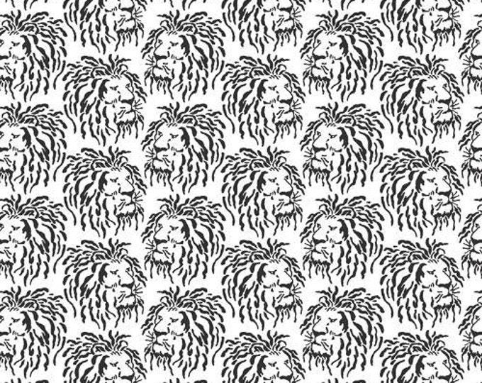 Andover Fabrics - Domino - Lions on White Cotton Woven Fabric