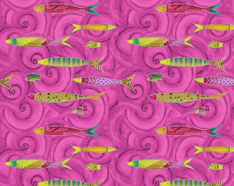 LAST PIECE = 1 yard 30 Inches Clothworks  - Sea Goddess by Laurel Burch - Big Raspberry Fish w.Metallic Y2600 74M Cotton Woven Fabric