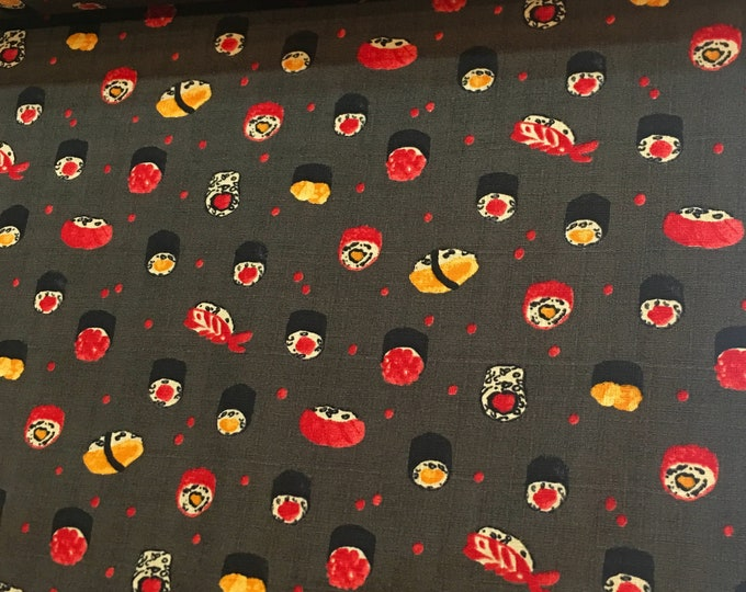 Lecien Fabric - Sushi -  Dark Brown 301-1105 2-E Cotton Woven Fabric