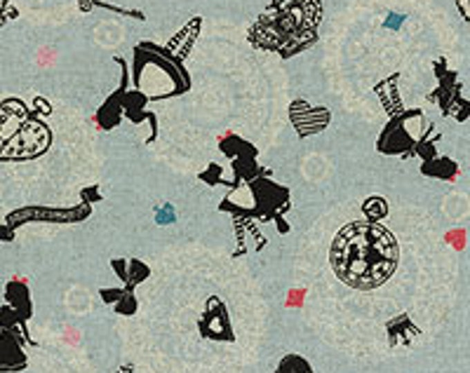 A Girl's Story, Alice in Wonderland 40698-70 Alice allover on blue By Lecien Fabrics
