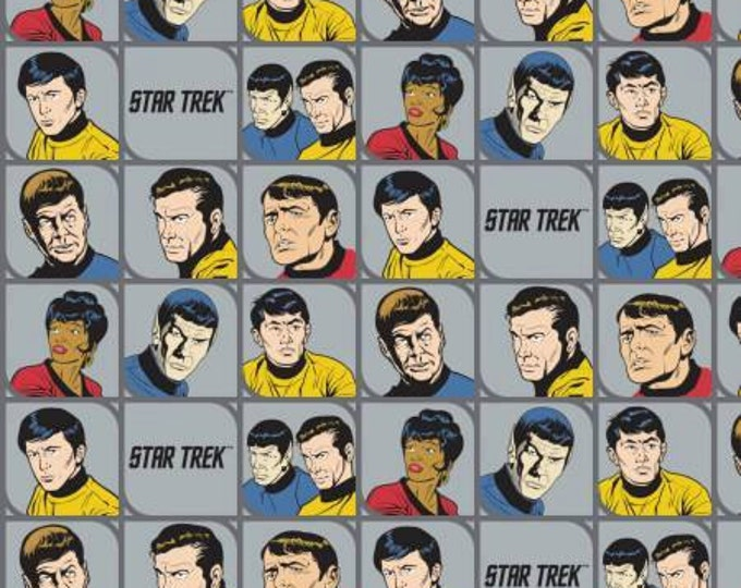 Camelot Fabrics - Star Trek - Stone Gray Star Trek Characters In Blocks Cotton Woven Fabric