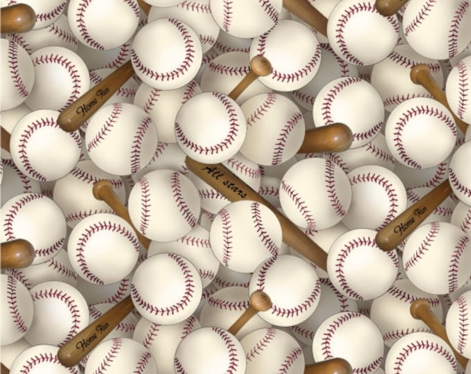 CLEARANCE -      Baseballs and Bats Cotton Woven Fabric - Price is per yard