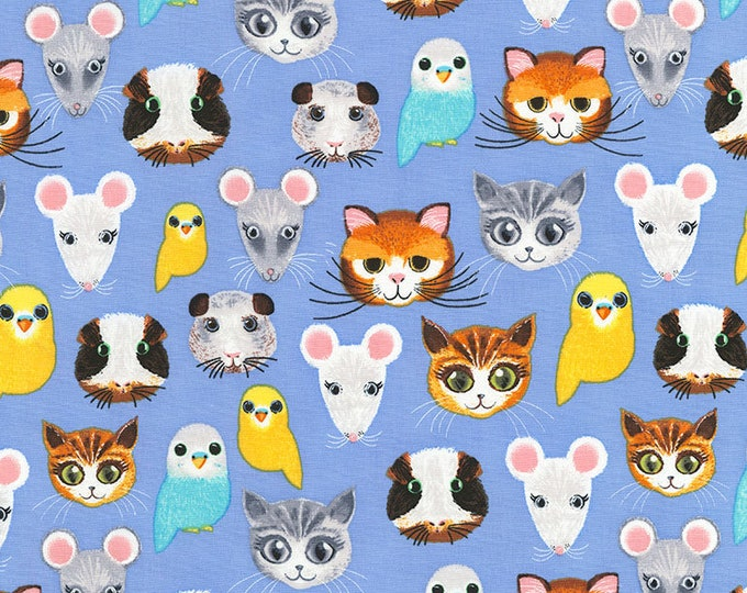 CLEARANCE -      Pet Shop on Blue Cotton Woven Fabric - price per yard