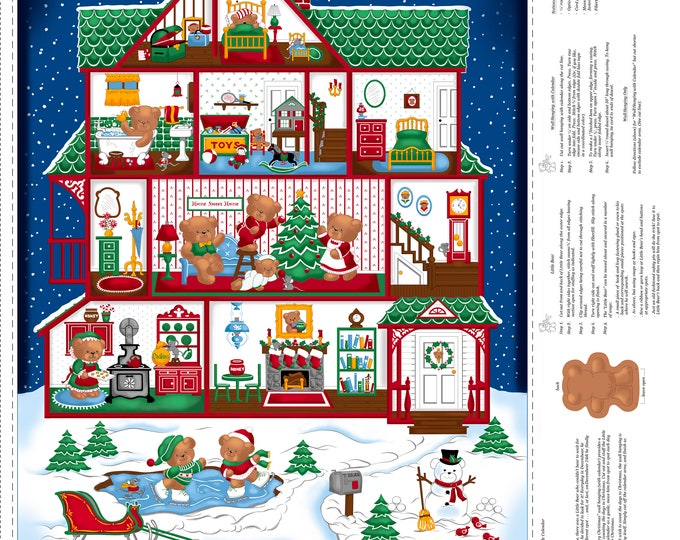 "Quilting Treasures - Sew N Go VIII - Merry Beary Advent Calendar 36"" Panel #27255 Y Cotton Woven Fabric"