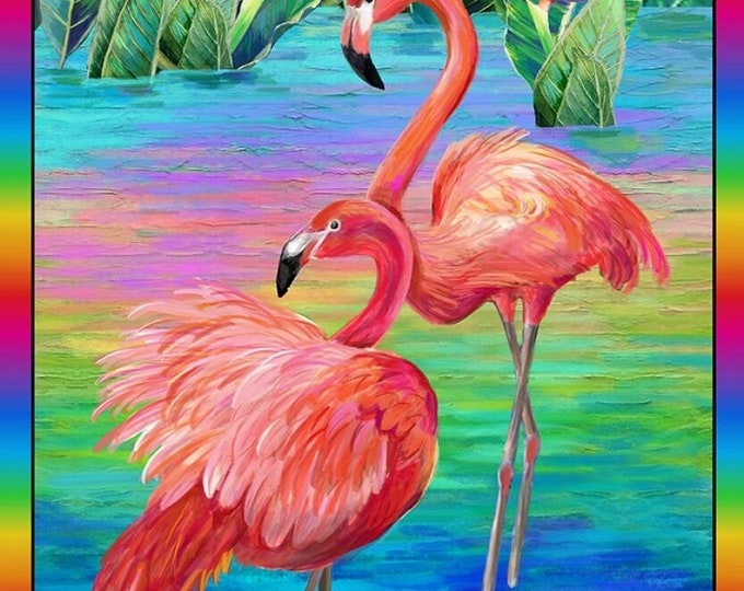 "Paintbrush Studios - Fabulous Flamingos by Ro Gregg -24"" Panel 120-208901 Cotton Woven Fabric"
