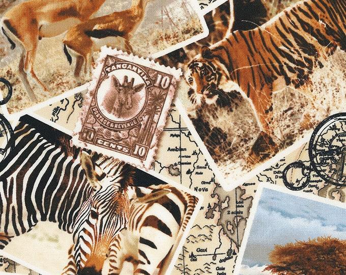 Timeless Treasures - Safari Post Card #Wild-C7231-Multi Cotton Woven Fabric