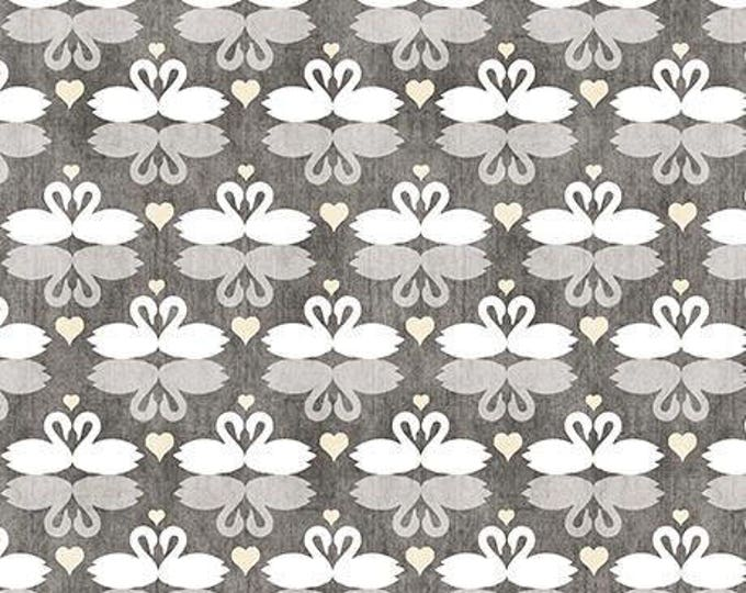 Quilting Treasures - I Do by Dan Morris - Swans Dark Gray Cotton Woven Cotton Woven Fabric