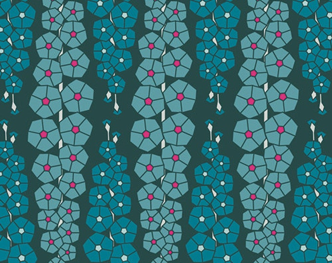 Art Gallery Fabric - Loved to Pieces -Deep Blue Gladiolumns - Rayon