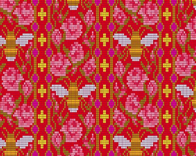 Andover Fabrics - Handiwork by Alison Glass - Bead Work Scarlet #9250-E - Cotton Woven Fabric