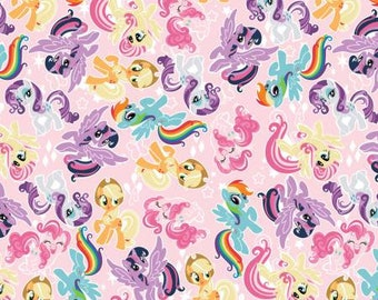 LAST PIECE - 2 yards 12 inches  - Camelot Fabrics - Hasbro - My Little Pony - Friends 95010113-01 - Cotton Woven Fabric