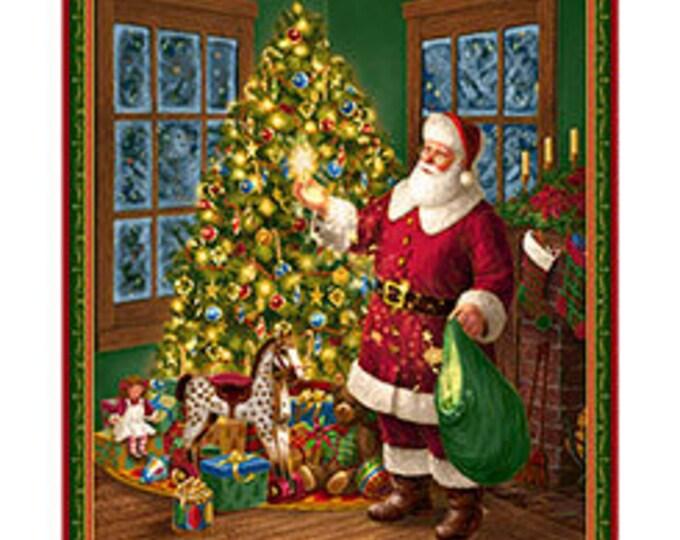 "Quilting Treasures - Santa & Christmas Tree 36"" Metallic Cotton Woven Fabric Panel"