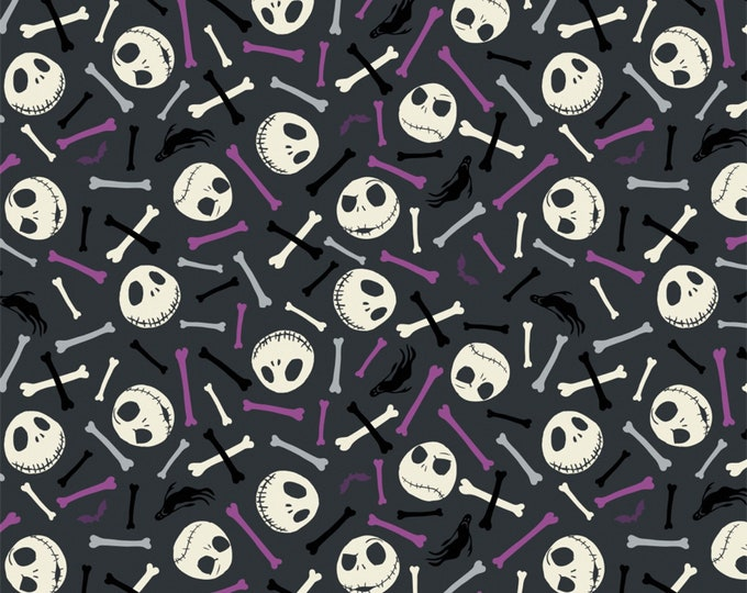 Nightmare Before Christmas - Jack is Back -Skull and Bones - Purple - Glow in the Dark Cotton Woven Fabric - Camelot