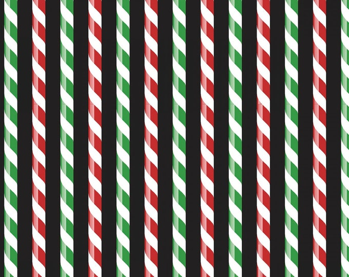 Patrick Lose Fabric - Santa's Stash - Green Peppermint Sticks Christmas # 667416470715  Cotton Woven Fabric