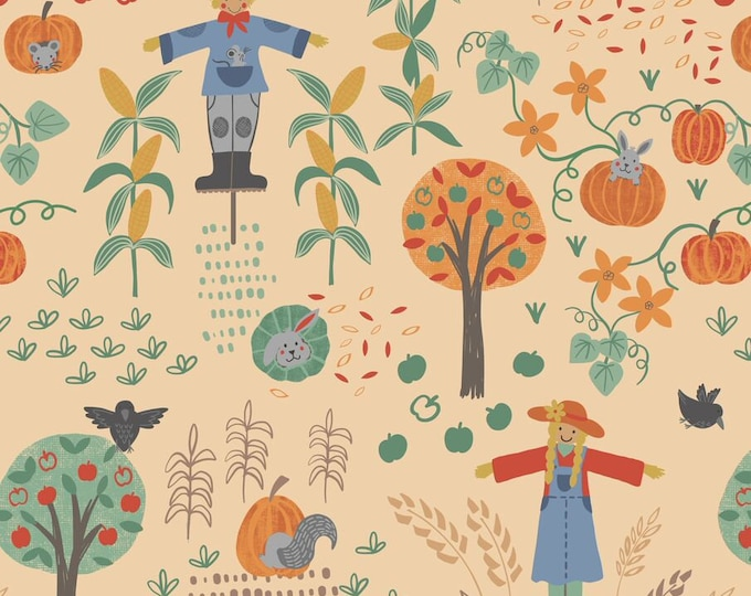 Scarecrow Acres - Main Print - Peach - Cotton Woven Fabric