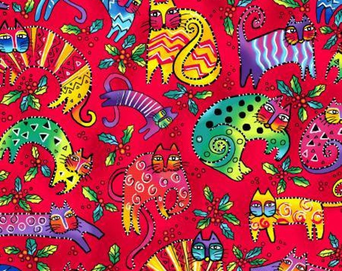 Clothworks - Enchantment by Laurel Burch -  Red Cat Toss Cotton Woven Fabric