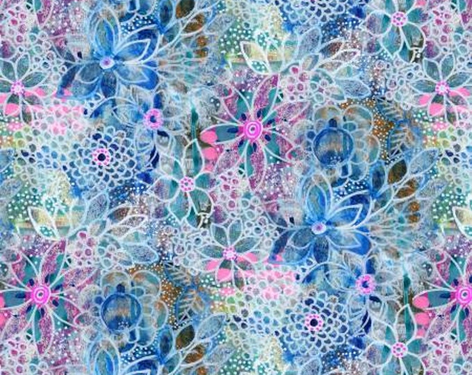 Multi Flowers Bohemia by Robin Mead Digitally Printed Cotton Woven Fabric by P&B Textiles - BOHE205-MU