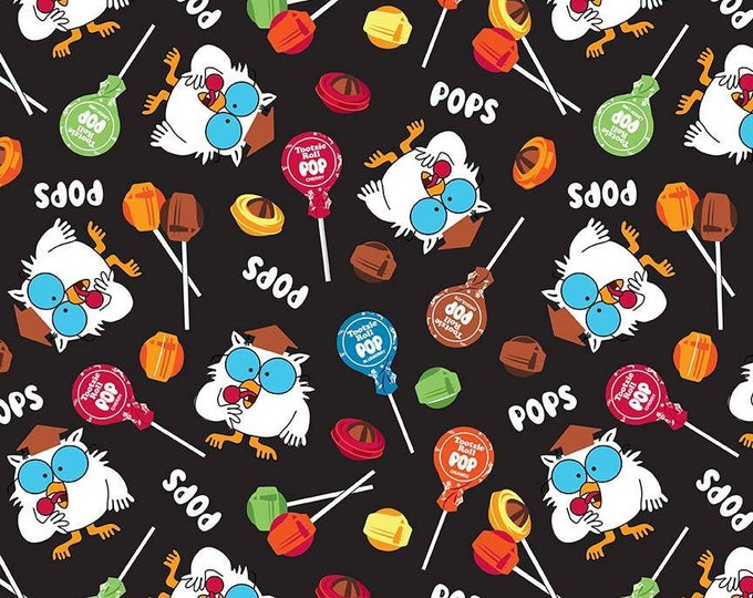 Tootsie Pop Owls on Black cotton woven fabric by Riley Blake