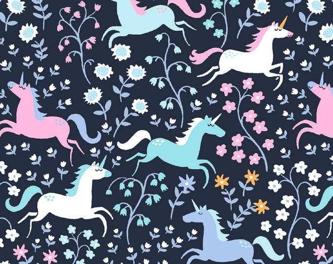 Dear Stella Fabric - Avalon - Indigo Unicorn Romp # ST-1064INDG Cotton Woven Fabric