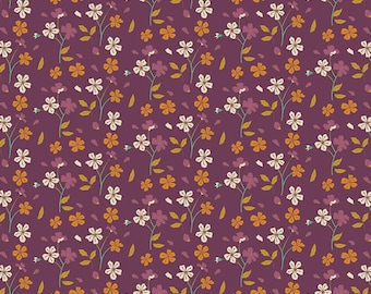 Art Gallery Fabric - Autumn Vibes - Cozy Ditzy - Plum - Cotton Spandex Knit - Maureen Cracknell