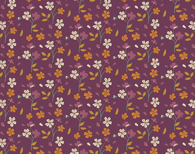 Art Gallery Fabric - Autumn Vibes - Cozy Ditzy - Plum - Cotton Spandex Knit - Maureen Cracknell