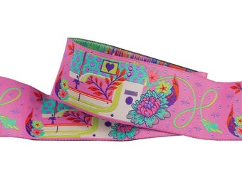 Tula Pink - HomeMade Renaissance Ribbon - Priced per yard - 1.5 inch Pedal to the Metal, Evening - TK 54/38mm Col 4 Woven Ribbon